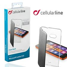 Cellularline Nokia Lumia 535 Clear Book Cover Flip Wallet Folio Black Slim Case