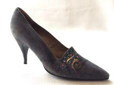 Stephane Kelian Gray Suede Leather Pump France Women 7.5 M Pointed Toe Shoe Heel