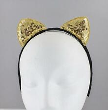 Gold sequin cat kitten ears headband hair band kawaii cosplay costume sparkly