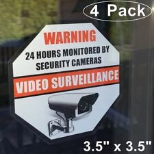 4 Home Security Video DVR Surveillance System Window Warning Vinyl Sticker Decal
