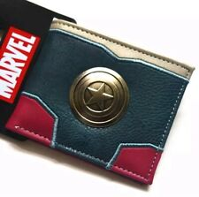Mens Bifold leather Wallet official Marvel  Avengers Captain America Coins Card