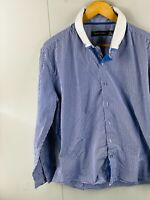 Tarocash Men's Long Sleeve Button Up Casual Dress Shirt Size XL Blue Check