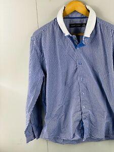 Tarocash Men's Long Sleeve Button Up Casual Dress Shirt Size XL Blue Check