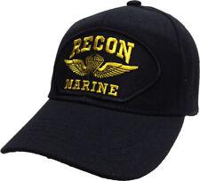 Marine Recon Hat Black USMC Recon Marines Ball Cap Jump Wings