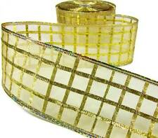"""5 Yds Christmas Gold Grid Checked Sheer Wired Ribbon 2 1/2""""W"""