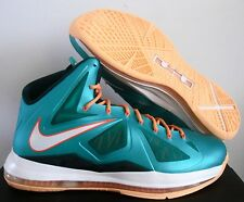 NIKE MEN LEBRON X 10 MIAMI DOLPHINS ATOMIC TEAL SZ 10.5 [541100-302]