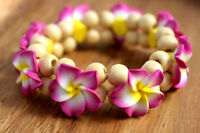 Two Hawaii Jewelry Plumeria Fimo Clay Bead Elastic ( QTY 2 ) Bracelet / Anklet