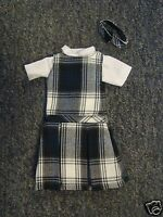NIP 3 pc SCHOOL UNIFORM Dress Jumper Dress Outfit for Barbie doll PLAID #64