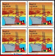 2351-Q BRAZIL 1992 PORT OF SANTOS, SHIPS AND BOATS, CRANE, MI# 2454, BLOCK MNH