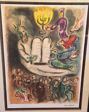 Lrge Marc Chagall Ltd Ed Litho Moses Called the Elders & Presents Tablets of Law