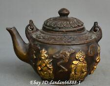 China fengshui Bronze carve gild five ways god of wealth Statue teapot wine pot