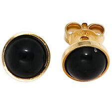 NEU Edelstein Ohrstecker schwarz Onyx 333er Gelbgold 333 echt Gold Ohrringe 8 KT