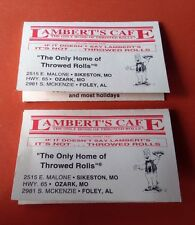 LAMBERT'S CAFE SOUVENIR SIKESTON MISSOURI Pair Fold Out Business Cards