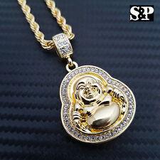 "Unisex Lab Diamonds Lucky Happy Buddha Pendant & 4mm 24"" Rope Chain Necklace"