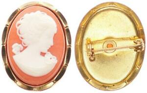 Cameo Brass Gold Plated, Brooch 3cm Long, 3,98g Excellent Condition