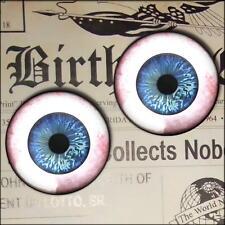 """1"""" Inch Blue Glass Doll Eyeball Fantasy Taxidermy Crafting Halloween Set 25mm"""