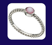 Mother of Pearl Ring Sterling Silver 925 Hallmark Ladies Pink Solitaire