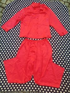 Ladies Red Satin Style long leg & long sleeves Pyjamas/pjs 26/28