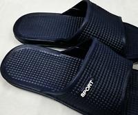 Mens Lightweight Sliders Summer Pool Beach Flip Flops Shower Shoes Navy Black