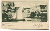 1900 Un saluto da Savona Via Genova La Villetta barche Guller Lucca FP B/N VG