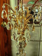 A.FABULOUS Vintage Hollywood Regency CUT GLASS CRYSTAL CHANDELIER Electric Lamp!