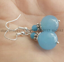 6mm & 12mm  Chalcedony Blue Gemstones Silver Jewelry Dangle Earrings andmade