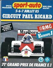 1985 French Grand Prix F1 race program, Paul Ricard, won by Piquet