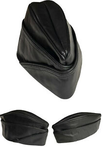 GENUINE LEATHER MILITARY TRIANGLE BLACK CAP LEATHER ARMY HAT  GAY FETISH