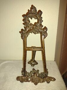 Lrg Brass Ornate Plate Picture Display Easel Art Nouveau Victorian India 14""