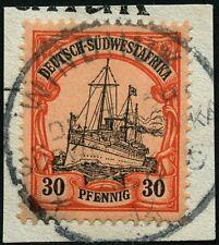 97/DSWA 1913 Yacht 30 Pf ° Windhuk c 23/6/13 Briefstück + Plattenfehler Tadellos