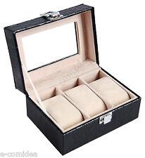 BOX COFANETTO PER 3 OROLOGI NERO VETRINA PORTAOROLOGI