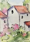 Original ACEO or ATC watercolor miniature painting -  House