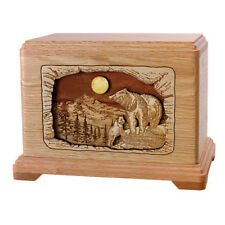 Wood Cremation Urn (Wooden Urns) - Oak Bear Hampton