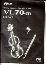 Yamaha Virtual Acoustic Tone Generator VL70-m List Book 1996