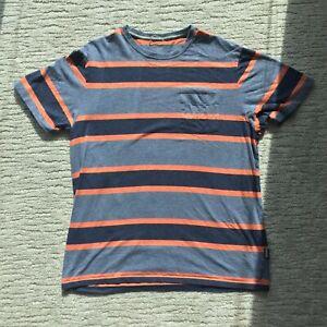 Patagonia Men's Sz L Organic Cotton Polo Striped Short Sleeve Navy/Orange/Gray