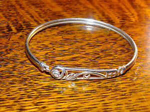 Sterling Silver Mackintosh Bangle With  Small Stone
