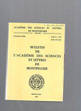 Bulletin Académie Sciences et Lettres de Montpellier Tome 21 1990 REF E29 @