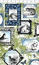 In the Beginning Cat Centric by Gray Sky 1GSD1 Blue Sampler  BTY Cotton Fabric