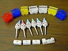 Vintage Plastic Circus Train & Clowns Cake Toppers Lot of 17