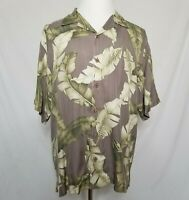 Tommy Bahama Mens Large 100% Silk Hawaiian Button Camp Shirt Floral