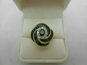 SWIRL ENGAGEMENT & WEDDING HALO RING 14K YELLOW GOLD PLATED 1.2 CT BLUE SAPPHIRE