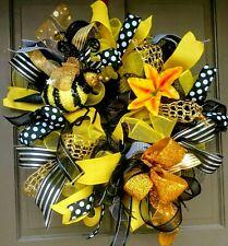"""Handmade Summer Spring Bumble Bee Wreath Black Yellow Deco Mesh 24"""" Door Decor"""