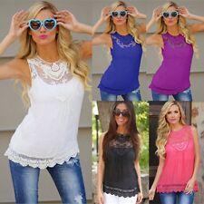 Women Loose Casual Chiffon Lace Sleeveless Vest Shirt  Blouse Ladies Summer Tops