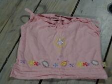 Débardeur coton et lin rose clair brodé fleurs Taille 4 ans