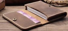 men women wallet cow Leather business name bank card holder case bag brown Z872