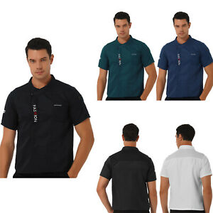 Men Short Sleeve Jacket Kitchen Chef Coat Cooking Uniform T-Shirt Restaurant Top