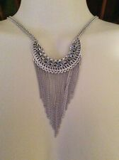 Lucky Brand Silver-Tone Crystal Fringe Bib Necklace $59 #378A