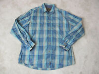 Wrangler Pearl Snap Shirt Adult Extra Large Blue Brown Plaid Western Rodeo Mens