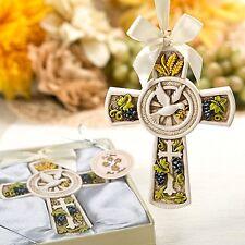 BOMBONIERA croce simboli religiosi avorio anticato COMUNIONE CRESIMA cod 1883