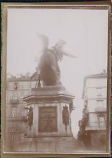 Italie, Milan, Monument équestre à Victor-Emmanuel II, ca.1900, Vintage citrate